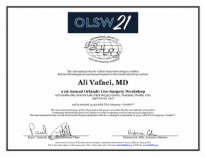 افتخارات دکتر علی وفائی